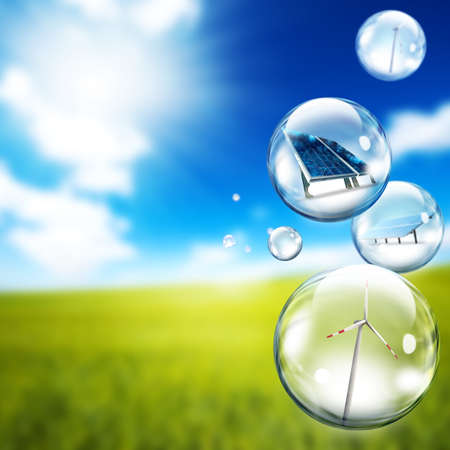 Solar panel and wind turbine  inside soap bubbles Stock Photo