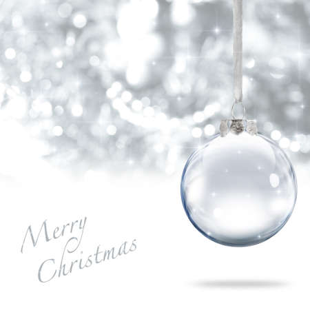 christmas sphere: Merry Christmas glass ball against silver background