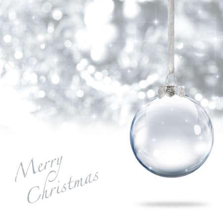 Palla di vetro Merry Christmas sfondo argento Archivio Fotografico - 9624717