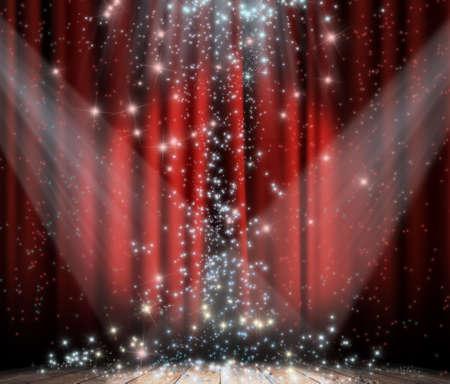 curtain theater: Cortina rojo con focos y estrellas