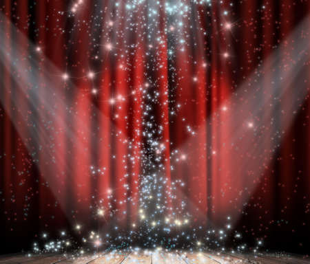 Red curtain with spotlights and stars photo