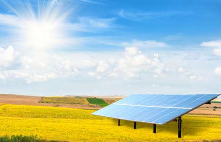 黄色のフィールドでの太陽電池パネル 写真素材