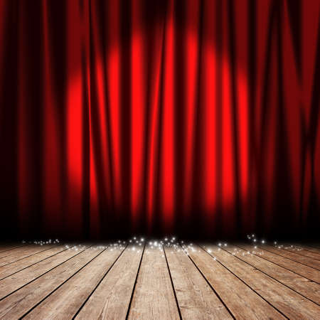 Red curtain with spotlights and stars