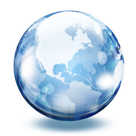 environment geography: World map in a glass sphere