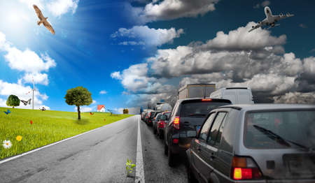 clean street: Diffference between car pollution and green environment Stock Photo