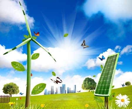 Windturbine en zonnecellen groeit in het gebied Stockfoto