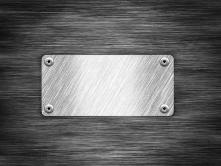 Metallic nameplate against black metal Stock Photo - 10535488