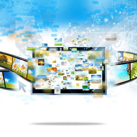 ver tv: Imagen de la televisión moderna de transmisión y de la película