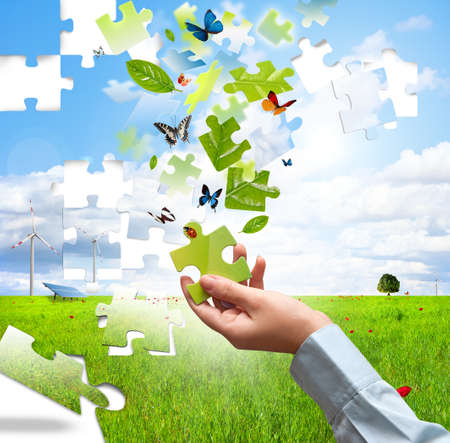 ecology concept: Build a puzzle with nature piace Stock Photo