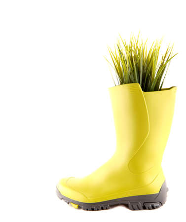 work boots: Think green with boot and fresh grass