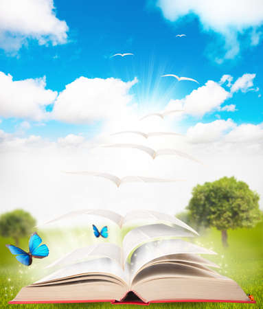 writing book: book that turns into a bird Stock Photo