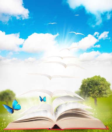 libros abiertos: libro que se convierte en un p�jaro