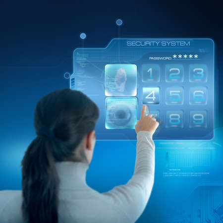 success security: Futuristic security system with businesswoman Stock Photo