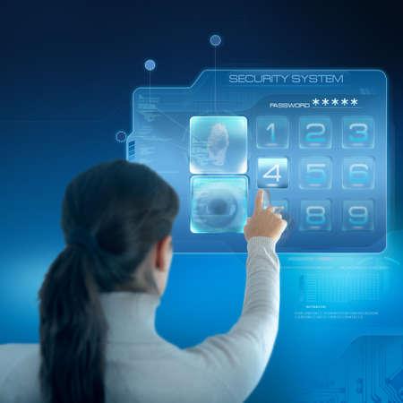 touchscreen: Sistema de seguridad futurista con negocios