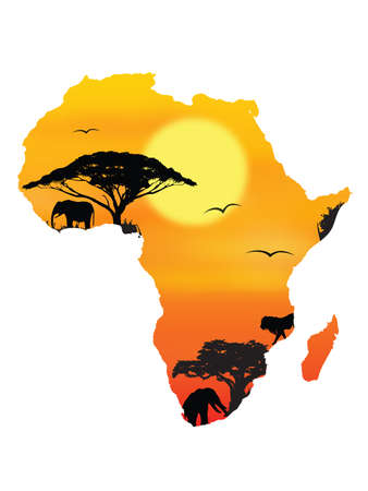 horizont: image of the horizont in Africa on a white background