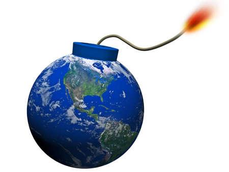 bombe: monde qui explose sur un fond blanc