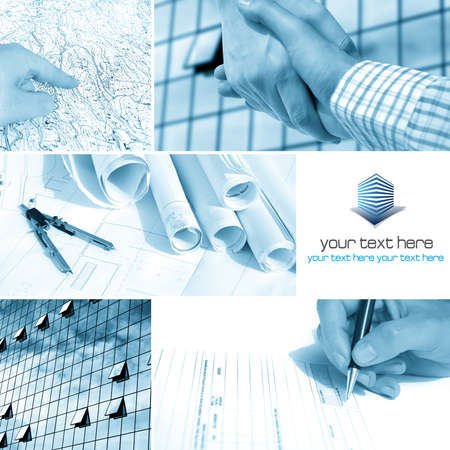 Business architect collage with blank space for your text photo