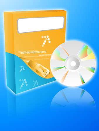 Software box with cdrom on a blue background photo