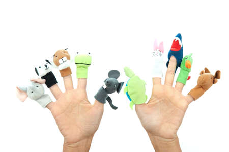 Funny animals puppets in the fingers photo