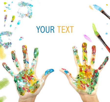 impressions: Colored hand with blank space for your text