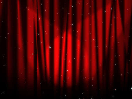 red curtain of stage with stars photo