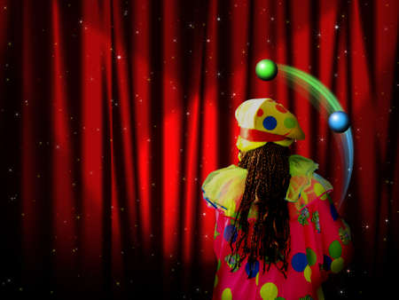 enact: Red curtain of stage with stars and juggler clown  Stock Photo