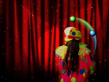 clown cirque: Rideau rouge de la scène avec des stars de clown et le jongleur