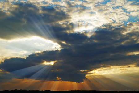 ultraviolet: Sunset with clouds and rays