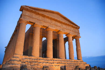 view of temple of concord at Agrigento in Sicily photo