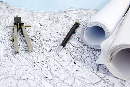 territorial plan with pen and compass photo