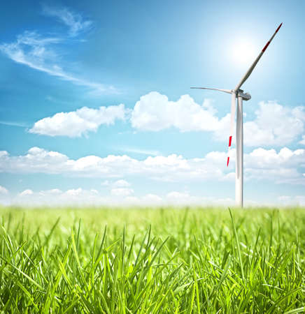 wind mills: Clean energy concept with wind turbine