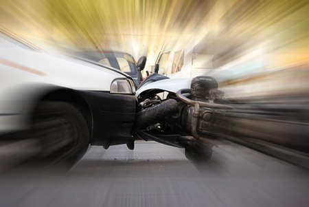 accident between car and motorcycle photo
