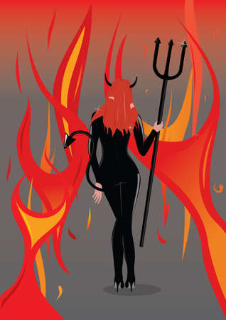 devil girl with flame background photo
