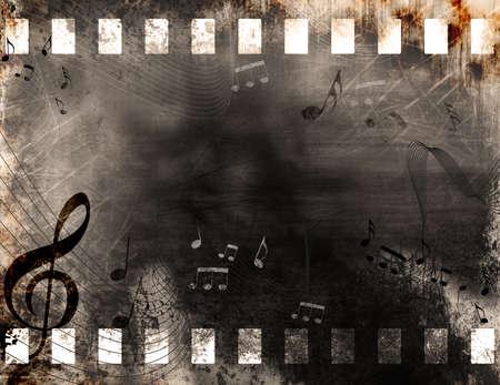 rollo pelicula: Grunge fondo antiguo tira de película con notas musicales