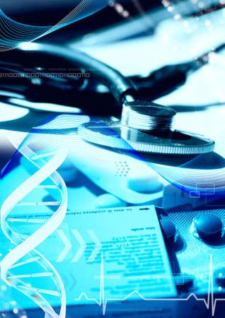 estetoscopio corazon: Tecnolog�a de la informaci�n m�dica y el concepto de las telecomunicaciones Foto de archivo