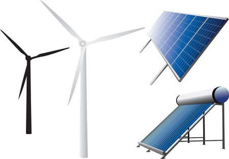 solar wind: icons of solar water heating system, solar panels and wind turbines  Stock Photo