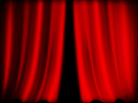 spectacle: close-up of red curtain of theater background  Stock Photo