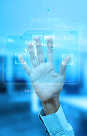 Virtual screen with fingerprint identification system Stock Photo - 11539840