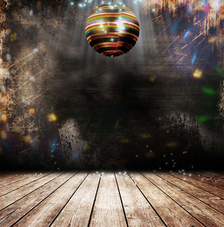 Disco bal in een oude kamer Stockfoto
