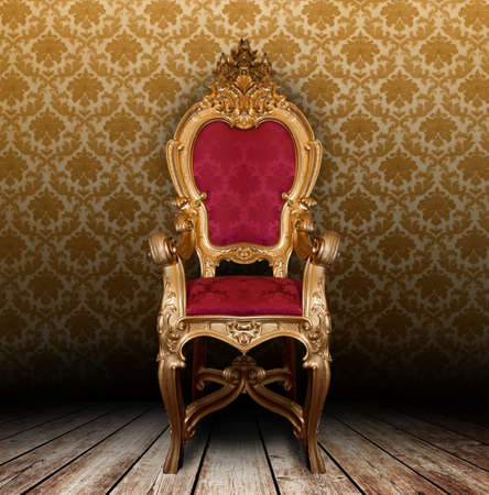 Golden vintage armchair in a old room Stock Photo - 11938097