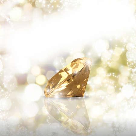 diamante: Diamante en un fondo de oro Foto de archivo