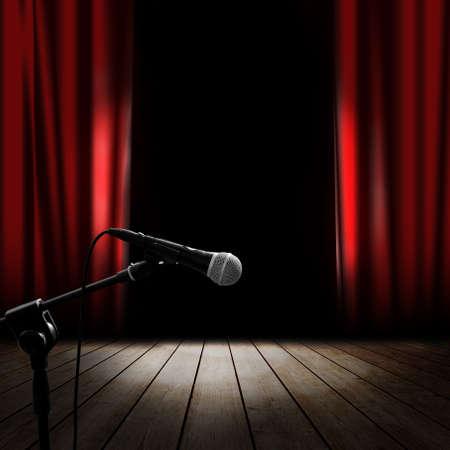 mics: Fondo musical con la cortina roja Foto de archivo