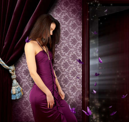Fairy girl with violet butterflies Stock Photo - 12322555