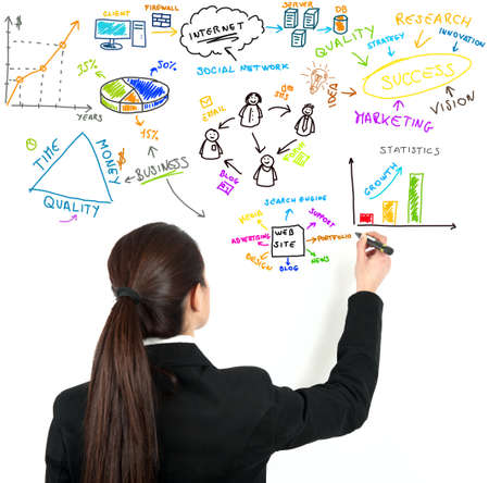 Businesswoman draw modern business concept Stock Photo - 12515258