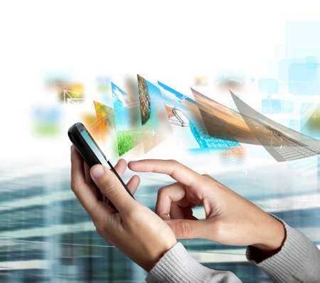 ringtones: Modern touch screen mobile phone that send picture Stock Photo