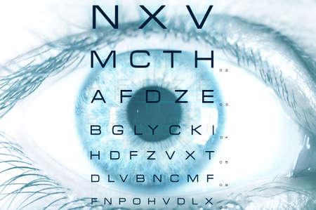 globo ocular: Ojo macro con la carta de examen de la vista Foto de archivo