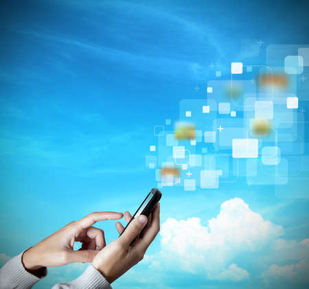 woman phone: Modern touch screen mobile phone transfer data Stock Photo