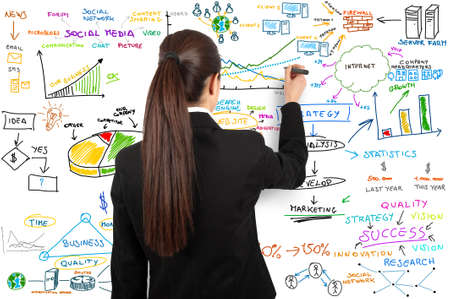 marketing research: Businesswoman draw modern business concept
