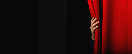 Girl open a red curtain Stock Photo - 12918510