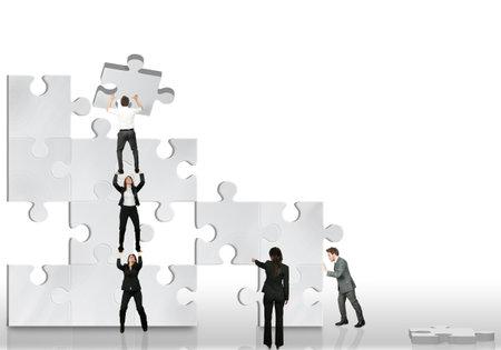 liderazgo: Equipo de socios de negocio trabajar juntos Editorial